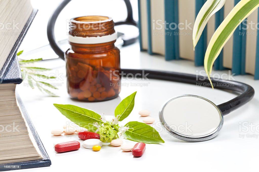 Herbs in alternative medicine stock photo