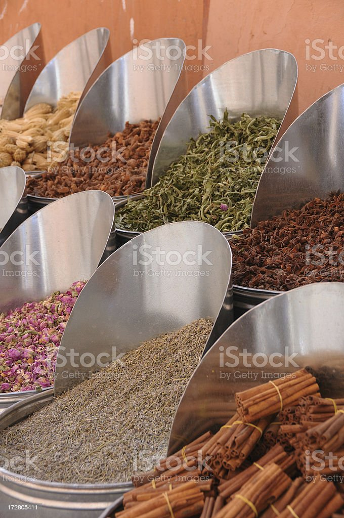 Herbs in Marrakech souks royalty-free stock photo