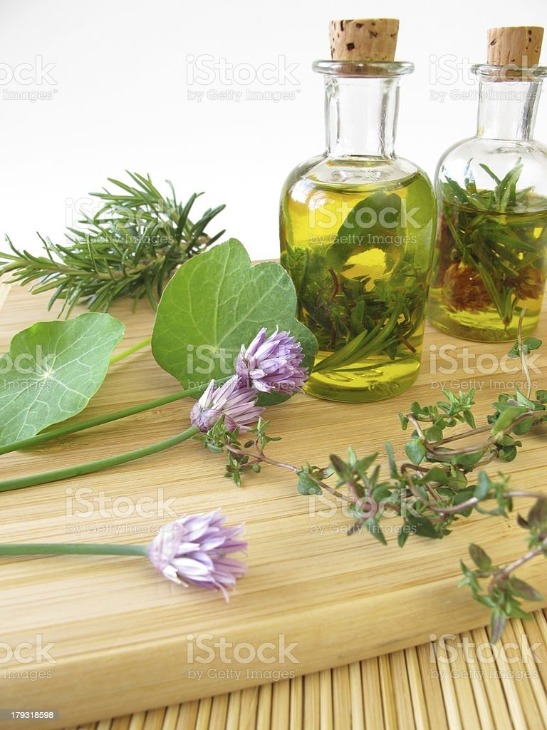 Herbs in olive oil royalty-free stock photo