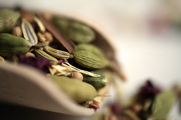 Herbs Close-up of Ayurvedic herbs, selective focus. cardamom stock pictures, royalty-free photos & images