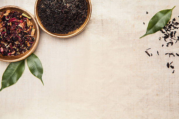 Herbs, plants and leaves, used in Chinese medicine stock photo