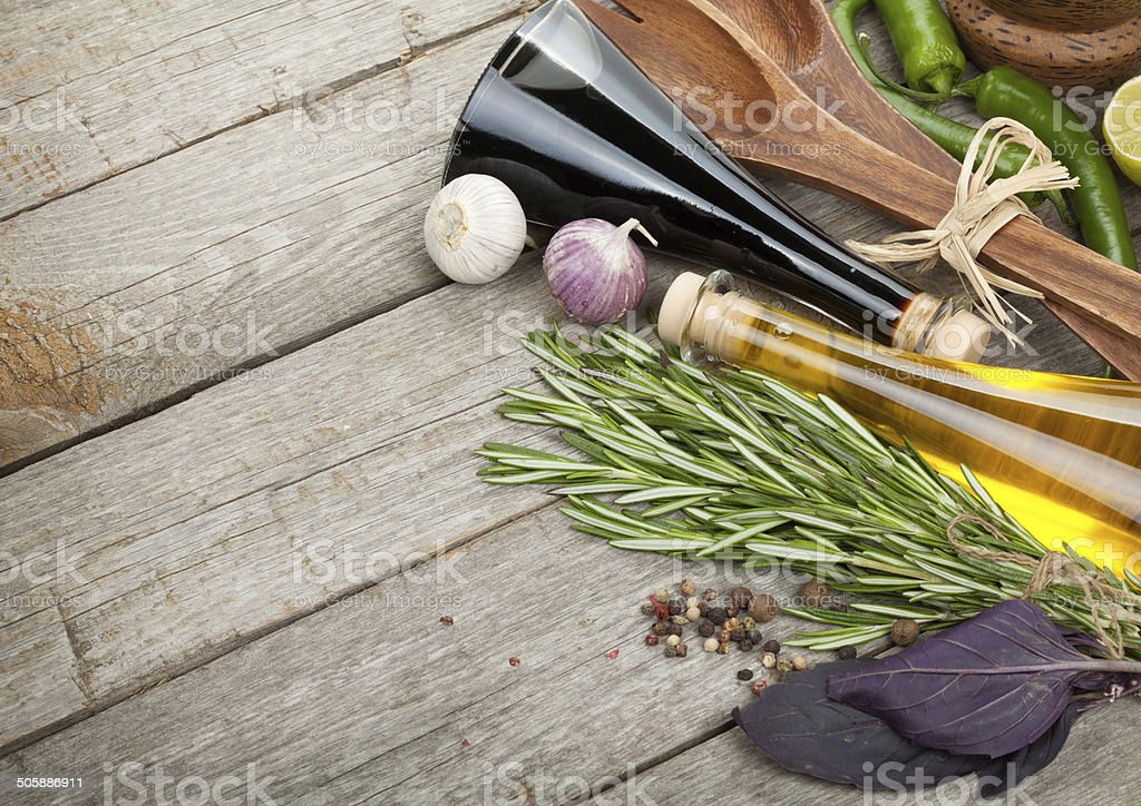 Herbs, spices and seasoning stock photo