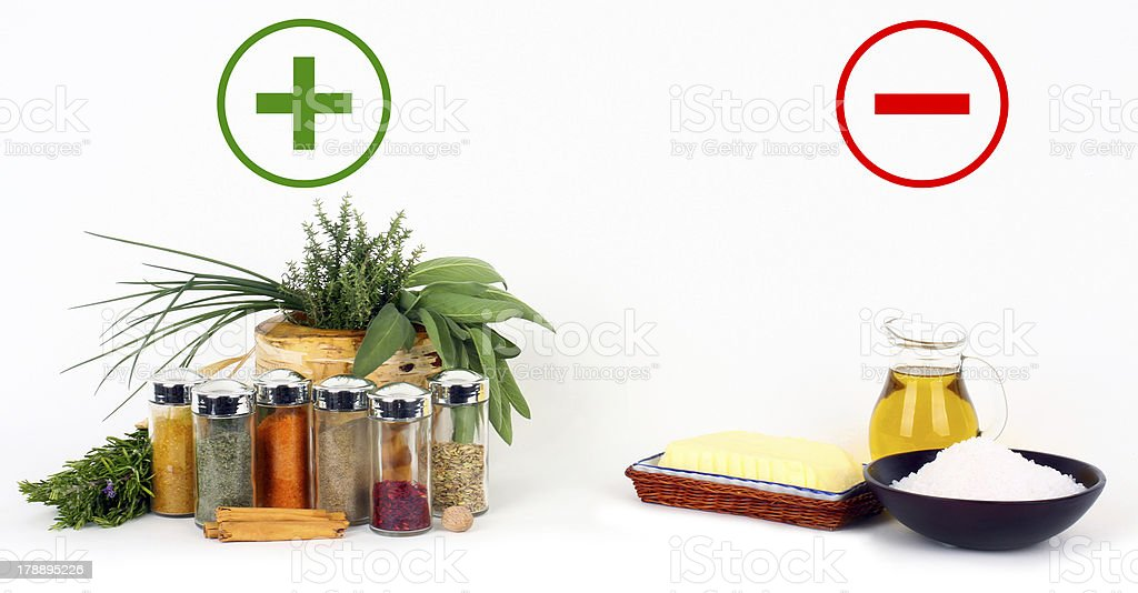 Herbs, spices versus fats and oils royalty-free stock photo