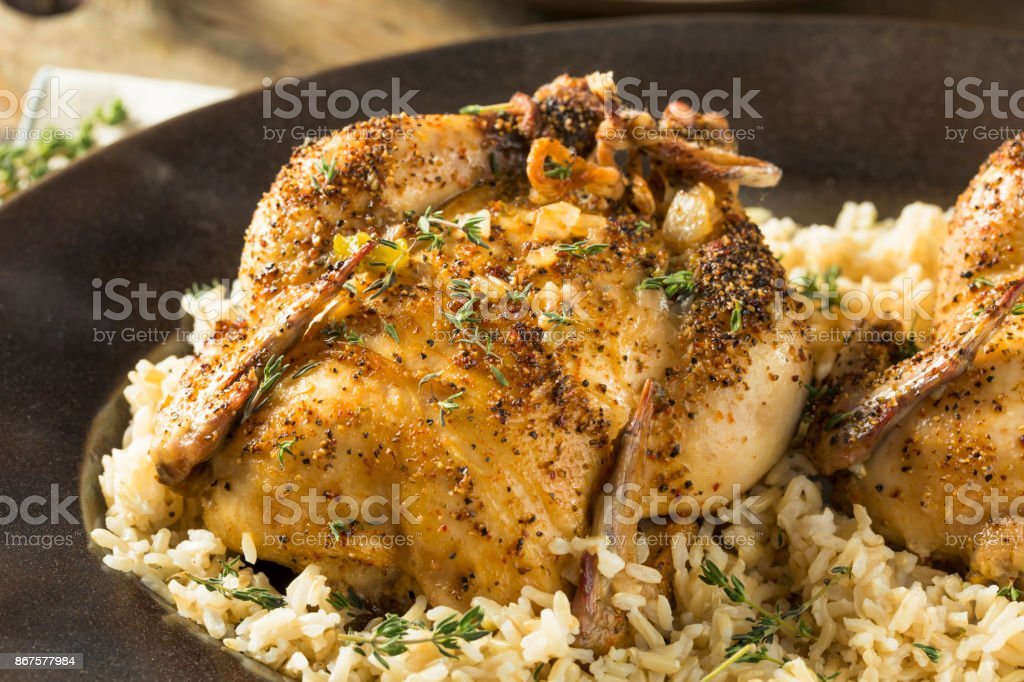 Herby Baked Cornish Game Hens stock photo