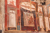 'Old Wall painting ( 1891) from Achillion museum in Corfu , Greece'