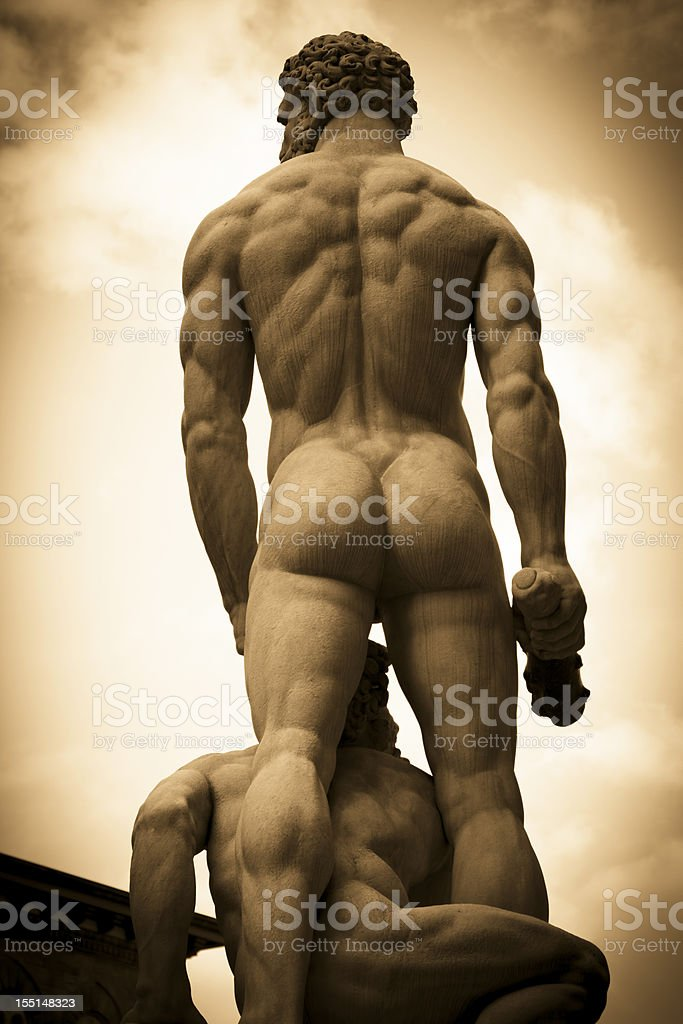 Hercules and Caco statue in Florence stock photo