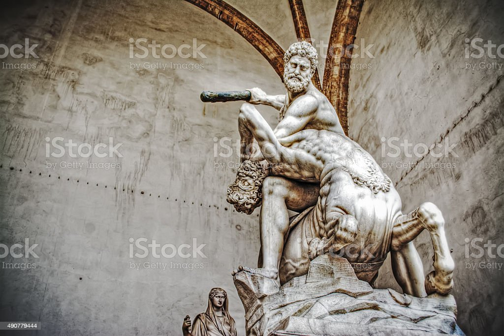 Hercules and Nesso centaur statue in Loggia dei Lanzi stock photo