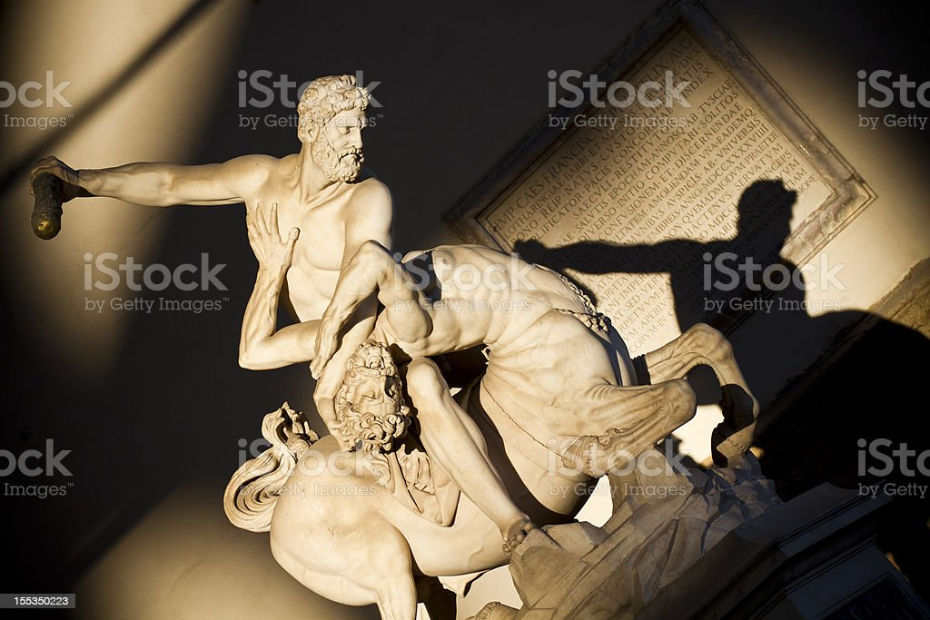 Hercules beating the Centaur Nessus in Florence stock photo