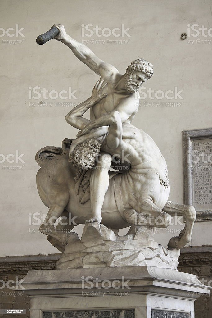 Hercules killing the Centaur Nessus stock photo