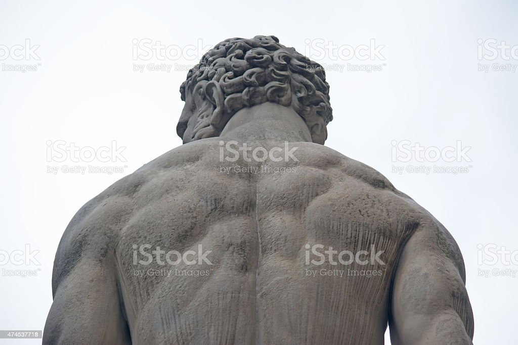 Hercules statue seen from behind stock photo
