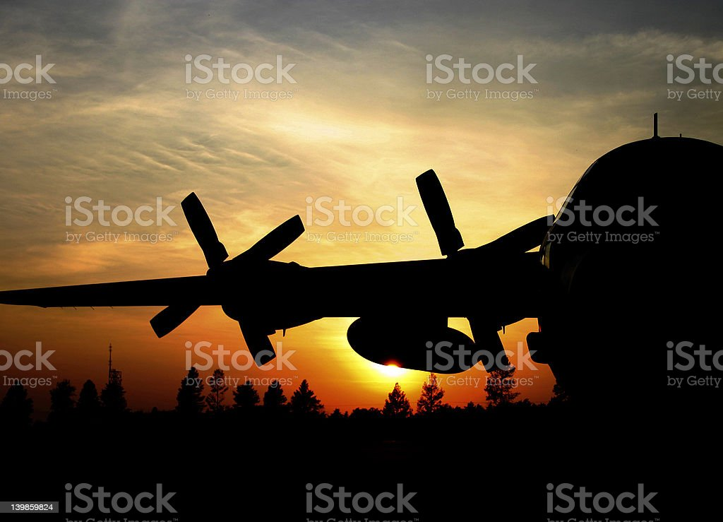 C-130H Hercules sunrise royalty-free stock photo