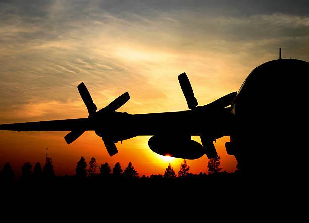C-130H Hercules sunrise stock photo