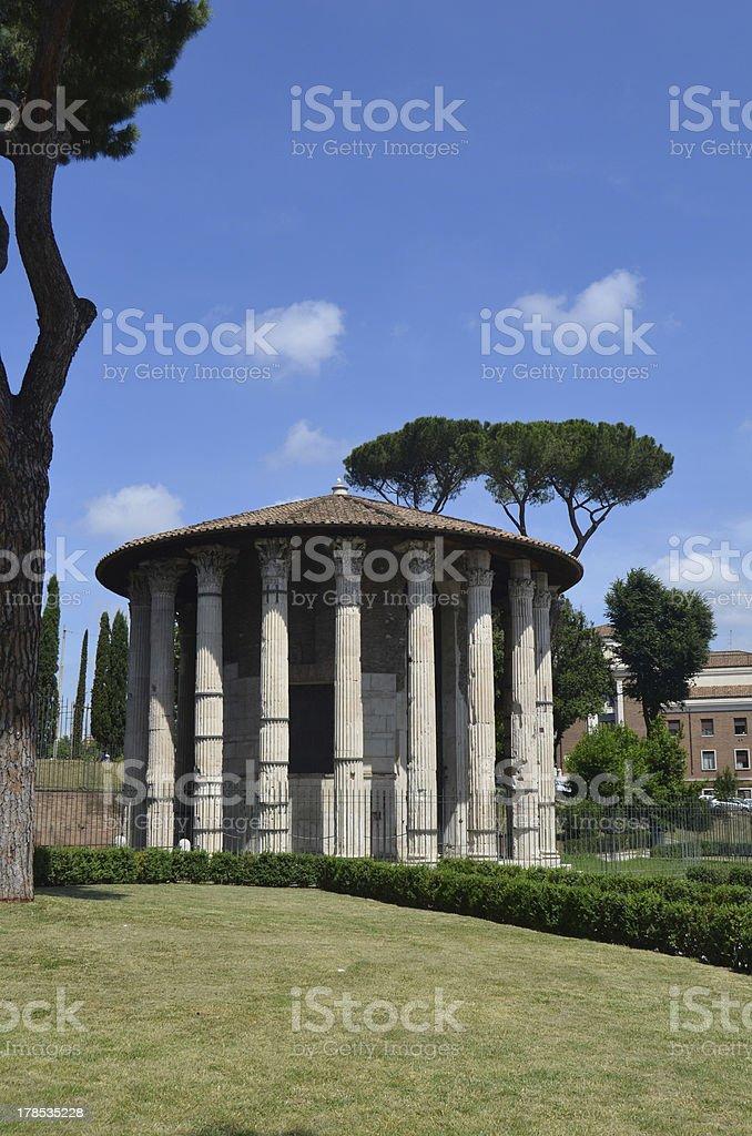 Hercules Temple Boario Forum. Rome. stock photo