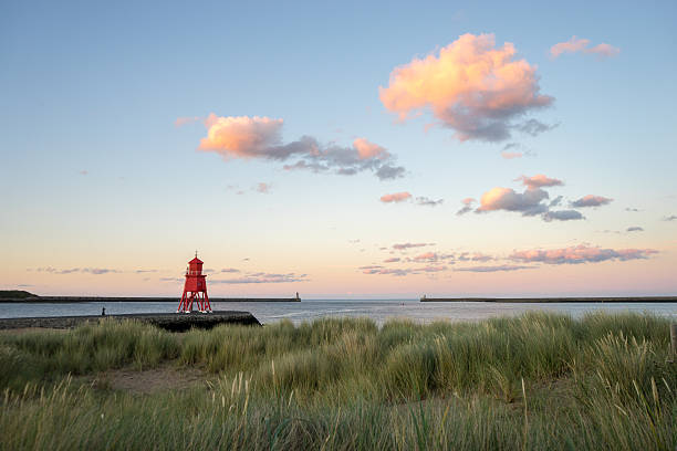 Herd Groyne Lighthouse at sunset stock photo
