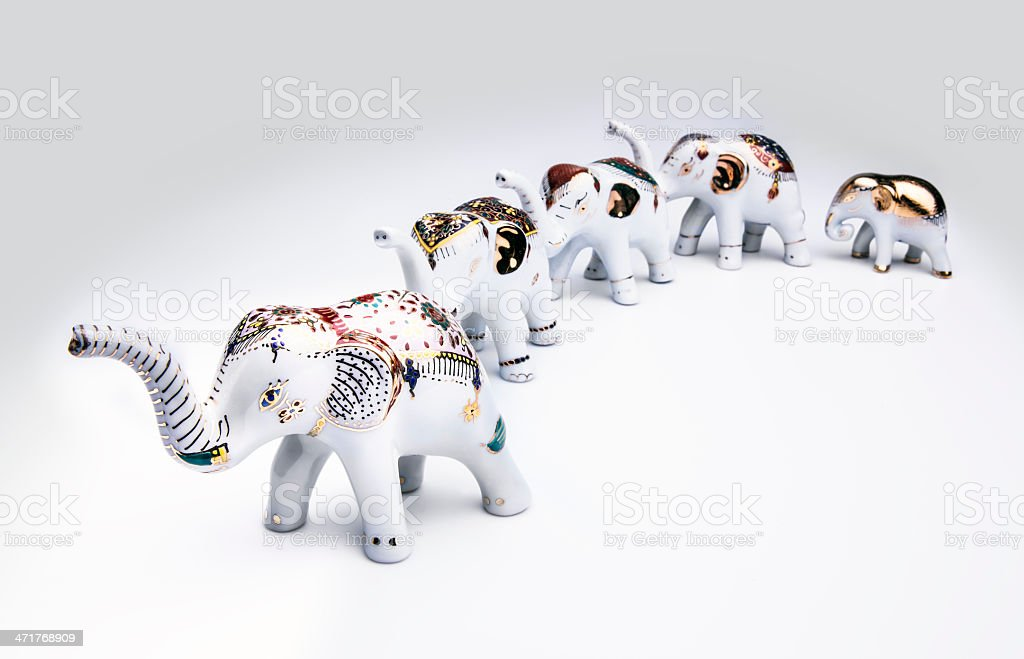 Herd of elephant ceramic, product from Thailand. royalty-free stock photo