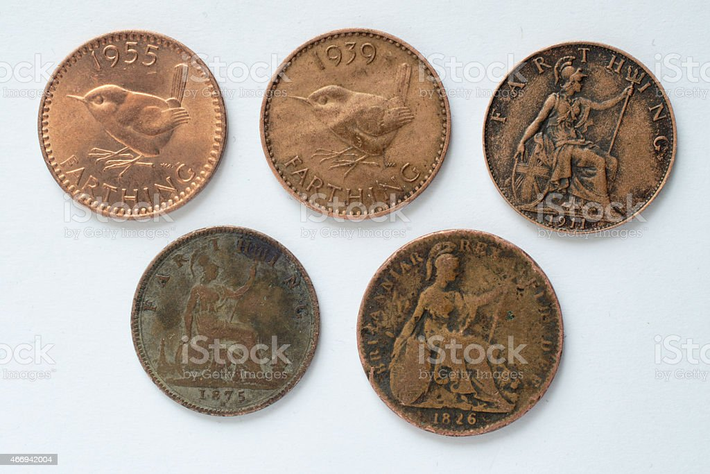 Five British farthing coins reverse 19th and 20th century stock photo