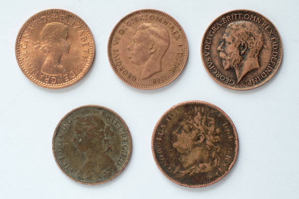 five british farthing coins obverse 19th and 20th century - whiteway money stock photos and pictures