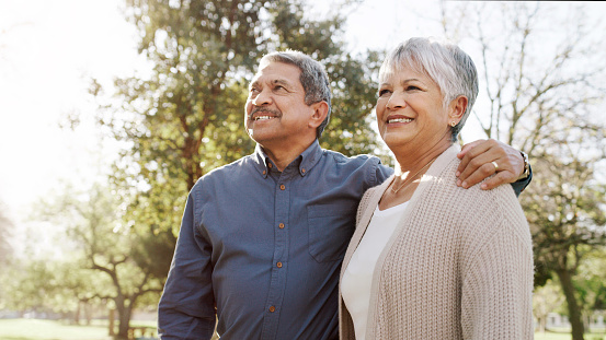 Shot of a happy senior couple going for a relaxing walk in the park