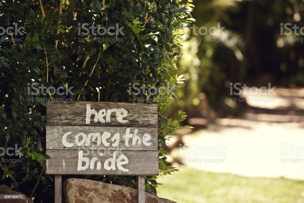 Here Comes The Bride Sign stock photo