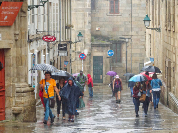Here comes the rain - Santiago de Compostela stock photo