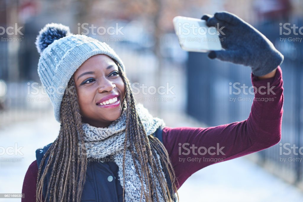 Here comes the snow…and the selfies stock photo