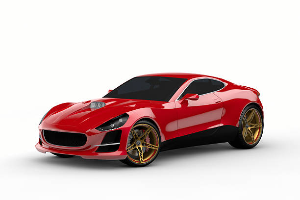 Here is a red sports car with tinted windows stock photo