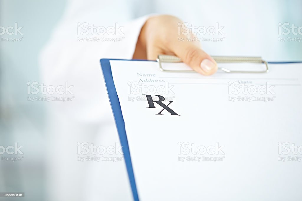 Here is your prescription royalty-free stock photo