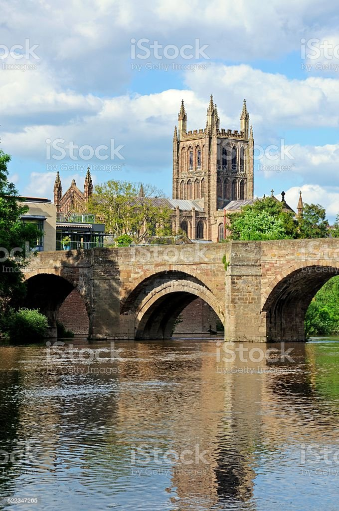 Hereford Cathedral and River Wye. stock photo