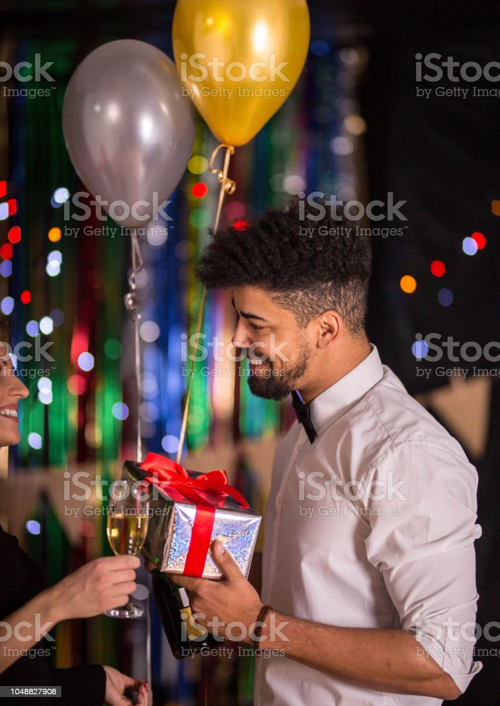 Here's New Year's gift for you stock photo