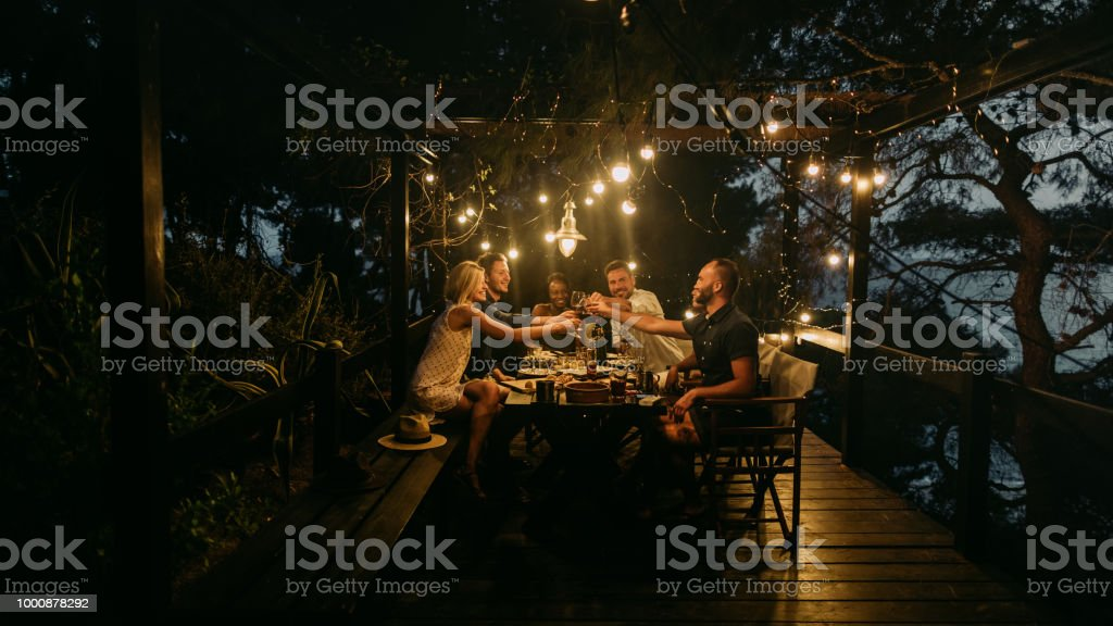 Here's to a lovely evening stock photo