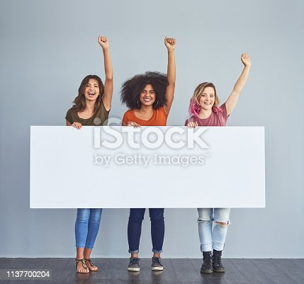 Studio shot of a group of young women holding a blank placard and cheering against a gray background
