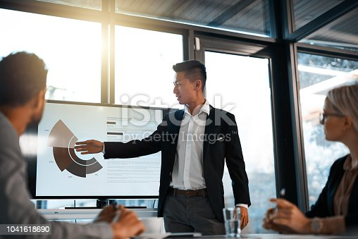 Shot of a young businessman giving a presentation to his colleagues in an office