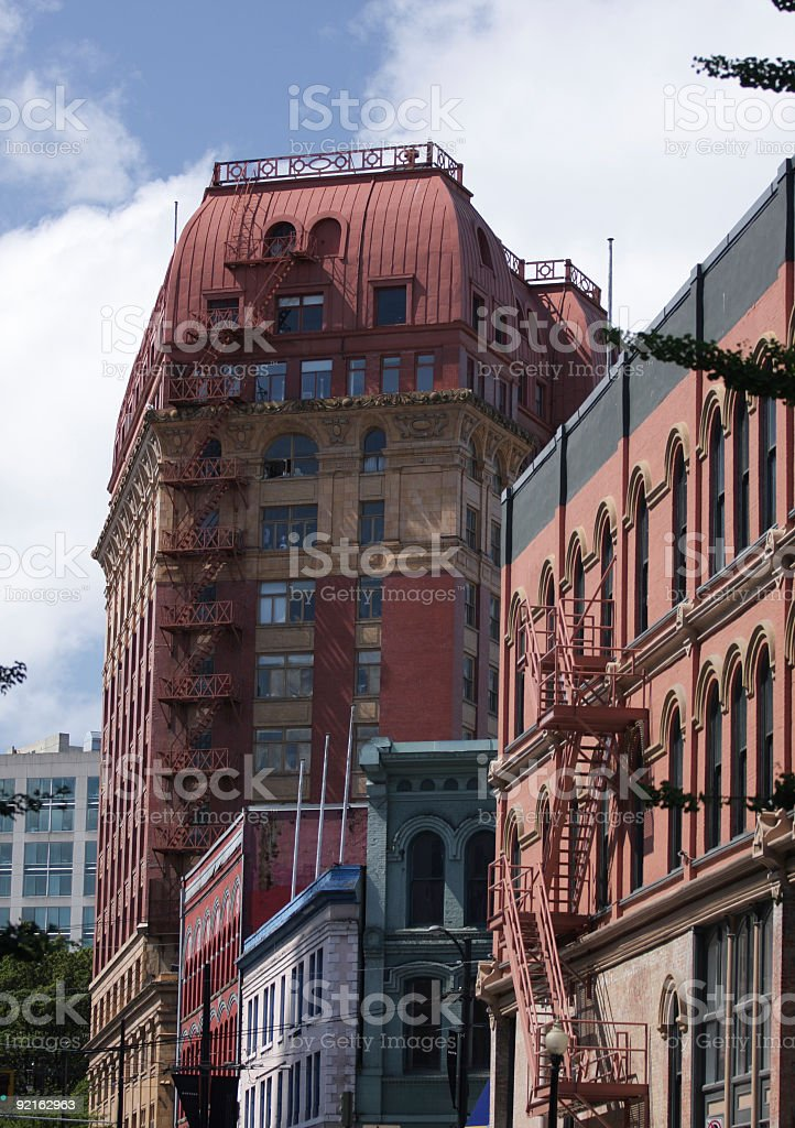 Heritage Buildings on Cambie Street, the Gastown Historic District, Vancouver stock photo