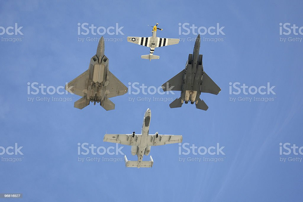 Heritage Flight in Airshow royalty-free stock photo