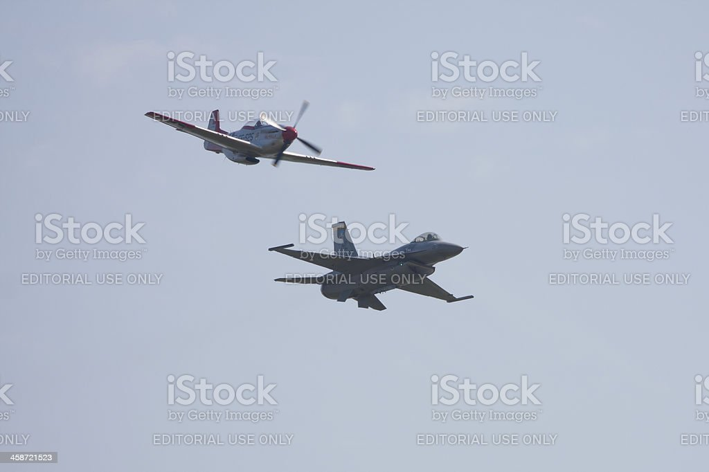Heritage Flight of P-51 and F-16 royalty-free stock photo