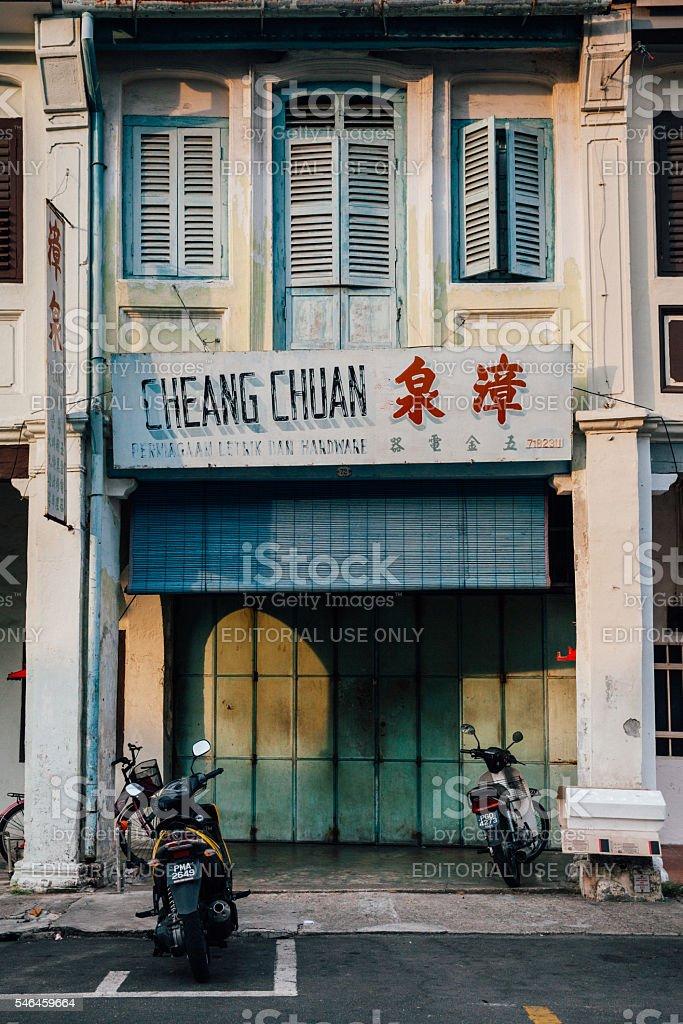 Heritage shophouse building, Penang, Malaysia royalty-free stock photo