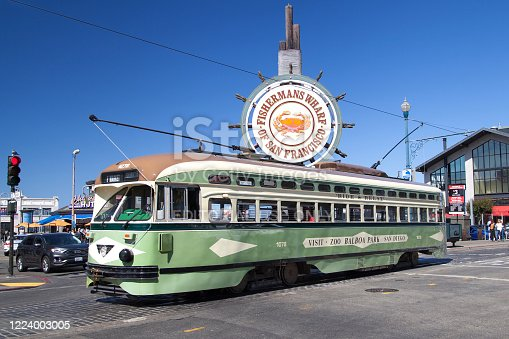San Francisco, California - August 27, 2019: Heritage streetcar Twin City Rapid number 1078 in San Diego Livery at Fisherman's Wharf, San Francisco, California, USA.