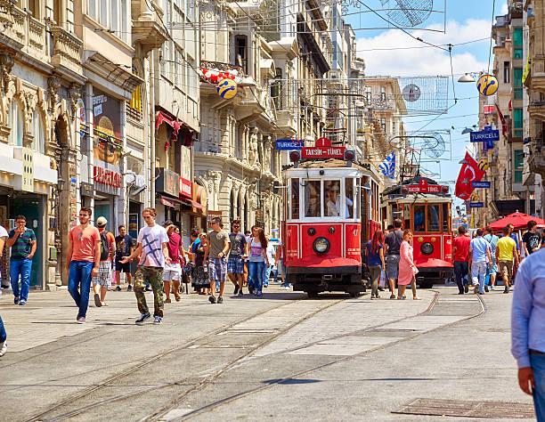 heritage tram on istiklal avenue, istanbul - istiklal avenue bildbanksfoton och bilder