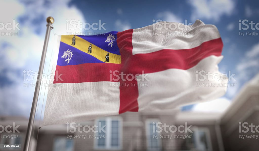 Herm Flag 3D Rendering on Blue Sky Building Background stock photo