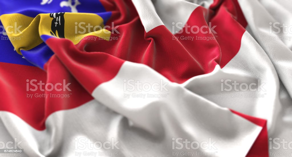 Herm Flag Ruffled Beautifully Waving Macro Close-Up Shot stock photo