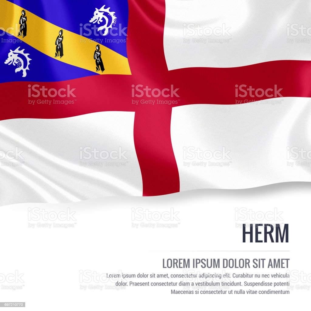 Herm flag. Silky flag of Herm waving on an isolated white background with the white text area for your advert message. 3D rendering. stock photo