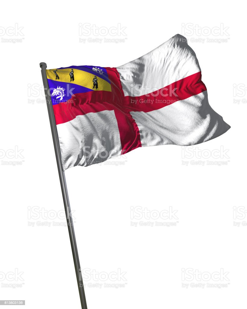 Herm Flag Waving Isolated on White Background Portrait stock photo