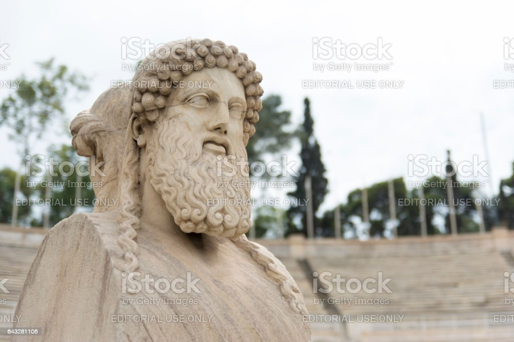Herm statue at Panathenaic Stadium, Athens, Greece stock photo