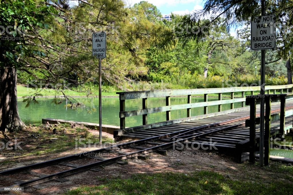 Herman Park Railroad Bridge, Houston, Texas. stock photo