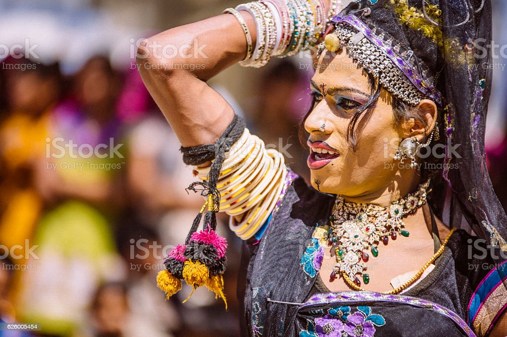 Hermaphrodite Indian dancer stock photo