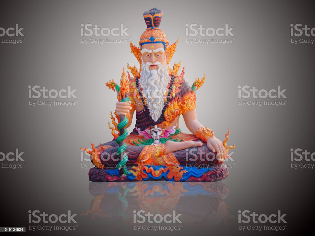Hermit statue isolate on gradient Black and white background stock photo
