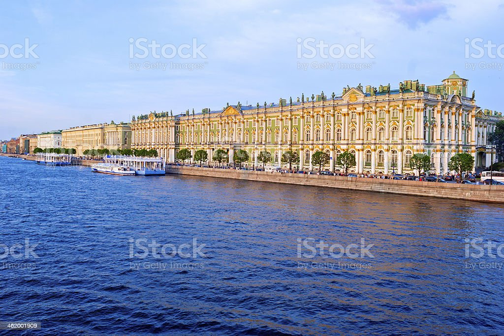 Hermitage and Neva  Embankment at Sunset stock photo