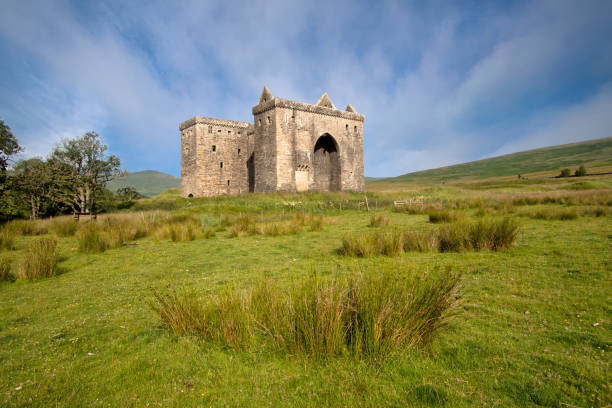 Liddesdale Valley, Roxburghshire, Scottish Borders, Scotland - July 12, 2014: Hermitage Castle stock photo