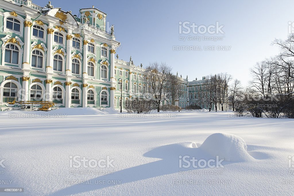 Hermitage in snow stock photo
