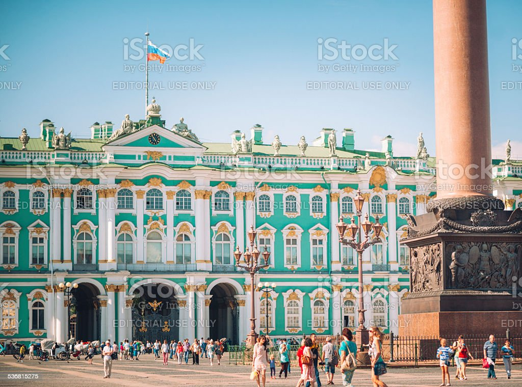 Hermitage museum and Alexander Column in St. Petersburg stock photo
